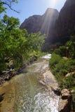 Zion Landscape Ray de la luz Fotos de archivo libres de regalías