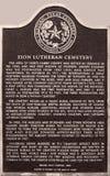 Zion Lutheran Cemetery Historical Marker Royaltyfria Foton