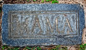Zion Lutheran Cemetery MAMA Marker. Tomball, TX USA - Dec. 27, 2016  -  This cemertery is a TX Landmark and was open in 1873.  There are four grave marker that Stock Images