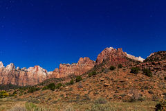 Zion Moonlit Night Landscape Royalty Free Stock Photos