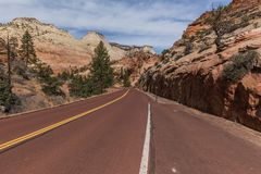 Zion-Mt Carmel Highway, Upper Zion stock photography