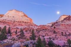 Zion N'P. Utah Moonrise Stock Image