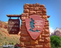 Zion nationaal park in Utah, U S A stock foto's