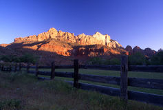 Zion National Park. Rural fence line and sun setting on Zion National Park Royalty Free Stock Photography