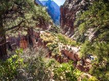 Zion National Park dalla pista agli angeli che atterrano, Utah Fotografia Stock