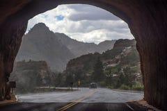 Zion National Park an einem regnerischen Tag Stockbild