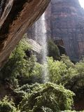 Zion National Park Emerald Pool Waterfall. Waterfall coming from the Emerald Pools in Zion National Park stock photos