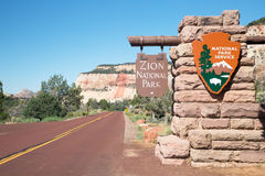 Zion National Park entrance Stock Images