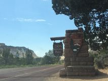 Zion national park entrance sign Royalty Free Stock Photo