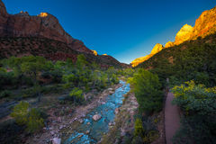 Zion National Park. Fall Colors at Sunset Royalty Free Stock Image