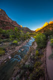 Zion National Park. Fall Colors at Sunset Stock Photo