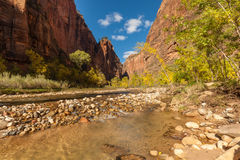 Zion National Park Fall Scenic Landscape Stock Photo