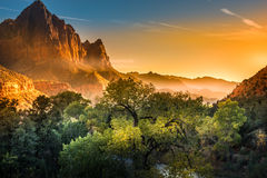 Zion National Park Foggy Autumn Sunset. Zion National Park Fall Colors at Sunset Stock Photography