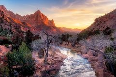 Zion National Park Late Autumn Landscape Sunset View, USA Royalty Free Stock Image