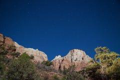 Zion National Park Moonlit Landscape Stock Images