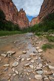 Zion National Park Narrows trail, Utah. United States royalty free stock photo