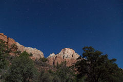 Zion National Park Night Landscape Royalty Free Stock Photos