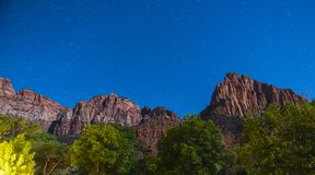 Zion national park at night with star,utah,usa. royalty free stock photography