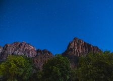 Zion national park at night with star,utah,usa. royalty free stock photos