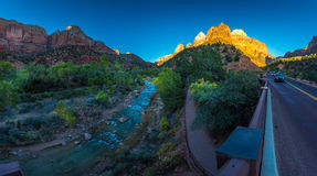 Zion National Park Panorama at Sunset. Zion National Park Fall Colors at Sunset Royalty Free Stock Images