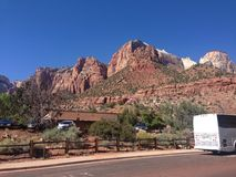 Zion national park. Parking space at Zion National Royalty Free Stock Photos