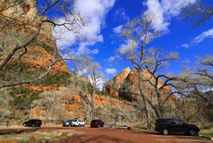 Zion National Park - parking (Utah, USA) Stock Photo