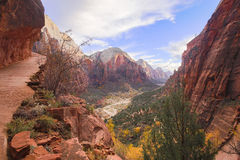 Zion National Park. Photo of Zion National Park from trail to Angles Landing Stock Images