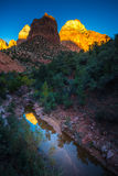 Zion National Park Reflection at Sunset. Zion National Park Fall Colors at Sunset Royalty Free Stock Photo