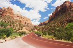 Zion National Park. Road leading through Zion National Park, Utah Royalty Free Stock Photos