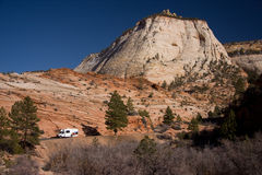 Zion National Park Scenery. Designated in 1919, Zion National Park is Utah's oldest national park. Zion canyon features soaring towers and monoliths that suggest stock photo