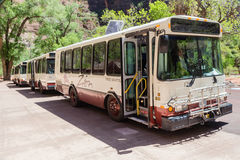 Zion National Park Shuttle Buses Royalty Free Stock Image