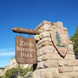 Zion National Park sign. Royalty Free Stock Image