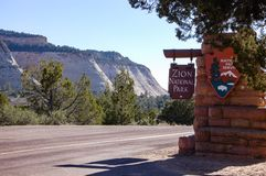 Zion National Park sign, Checkerboard Mesa mountain royalty free stock photography