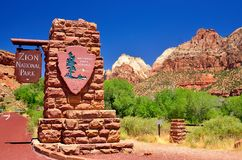 Zion National Park sign at the entrance Stock Images