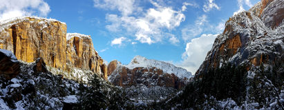Zion National Park in Snow Royalty Free Stock Photo