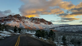 Zion National Park in Snow Royalty Free Stock Images