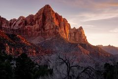Zion national park sunset landscape view of Watchman peak, Utah Stock Photos