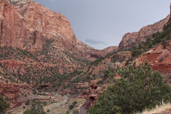 Zion National Park in Utah. On a rainy, cloudy day Royalty Free Stock Photo
