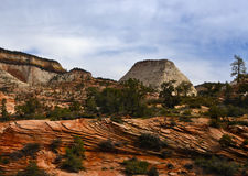 Zion National Park, Utah. Exfoliating rocks, due to erosion, in the colorful high country scenery of Zion National Park in southwest Utah Royalty Free Stock Photos