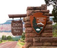 Zion national park in Utah united States. Entrance sign in Zion National park in Utah, United States Stock Photo