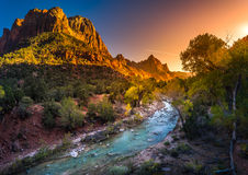 Free Zion National Park Virgin River At Sunset Royalty Free Stock Images - 84766129