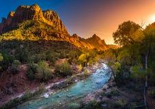 Zion National Park Virgin River no por do sol Imagens de Stock Royalty Free
