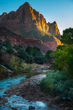 Zion National Park The Watchmen. Zion National Park Fall Colors at Sunset Stock Image