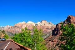 Zion park narodowy od drogi Obraz Royalty Free