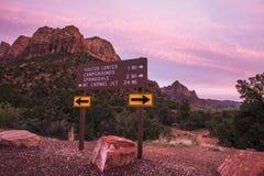 Zion Park Roads Crossing Royaltyfria Bilder