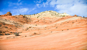 Zion Rocks. Mountain side in Zion National Park with Blue Sky Royalty Free Stock Photo