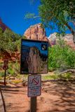 ZION, UTAH, USA - JUNE 12, 2018: Angels Landing Sign at Scout Lookout. The strenuous trail is a popular hiking climbing stock photography