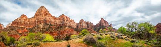 Zion View Panorama in primavera Fotografie Stock Libere da Diritti