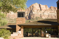 Zion Visitor's Center 1. The Visitor's Center in Zion National Park in southwest Utah. Sandstone formations in the background Royalty Free Stock Photos
