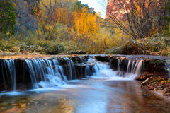 Zion Waterfall. Waterfall in autumn on the way to the subway in zion national park Royalty Free Stock Image